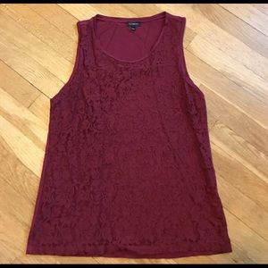 Talbots Lace Tank, Red Wine Color